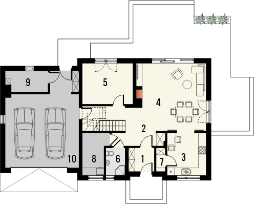 Projekt domu Jodła 2G - rzut parteru
