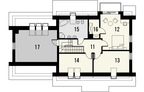 Projekt domu Jodła 2G - rzut poddasza