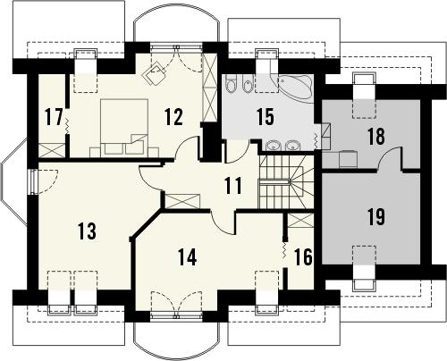 Projekt domu Czereśnia - rzut poddasza