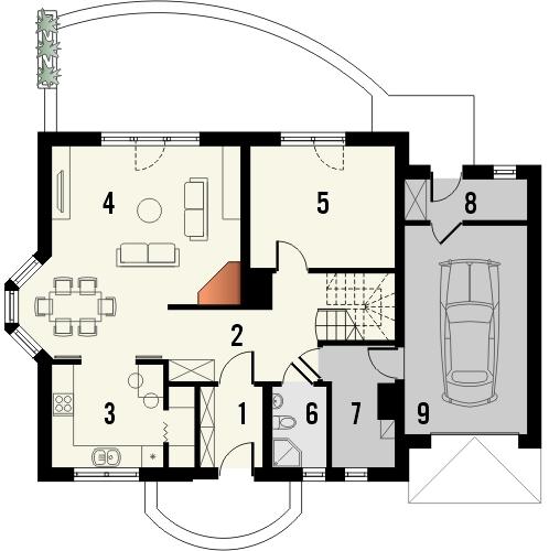 Projekt domu Akacja - rzut parteru