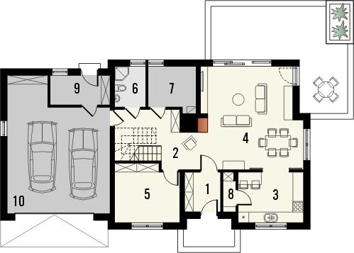 Projekt domu Kasztan 2g - rzut parteru