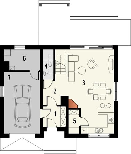 Projekt domu Etno - rzut parteru