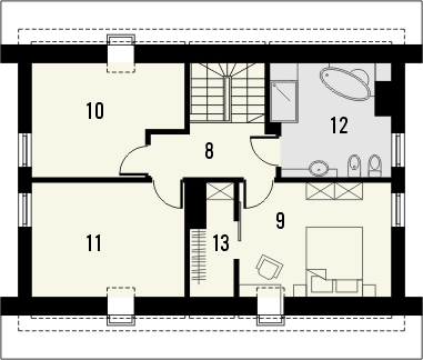 Projekt domu Lotos - rzut poddasza