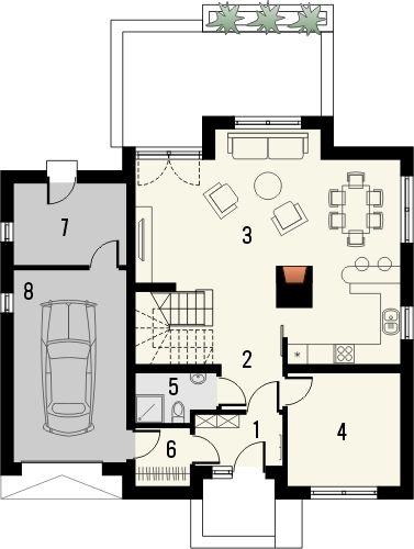 Projekt domu Bielinek - rzut parteru