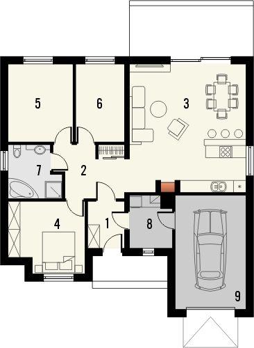 Projekt domu Floryda - rzut parteru