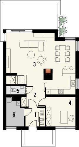 Projekt domu Panorama 2 - rzut parteru