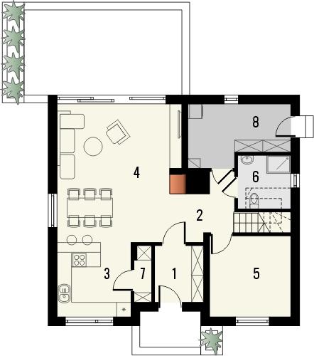 Projekt domu Aviator  - rzut parteru