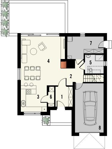 Projekt domu Aviator 2 - rzut parteru