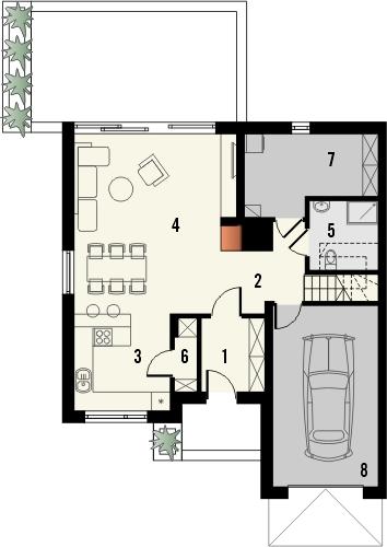 Projekt domu Aviator 4 - rzut parteru