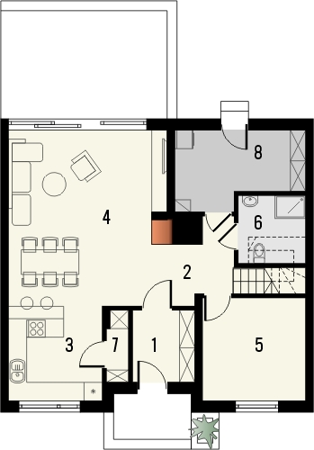 Projekt domu Aviator 5 - rzut parteru