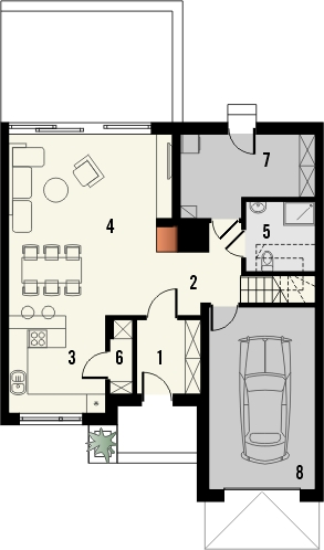 Projekt domu Aviator 6 - rzut parteru