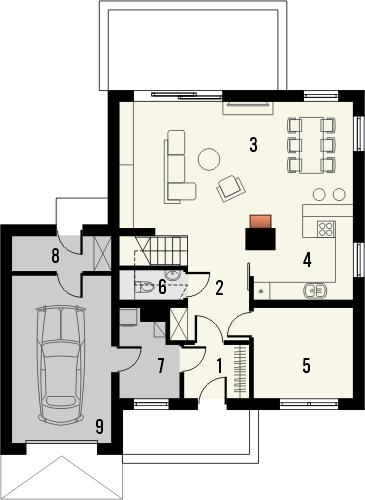 Projekt domu Pionier - rzut parteru