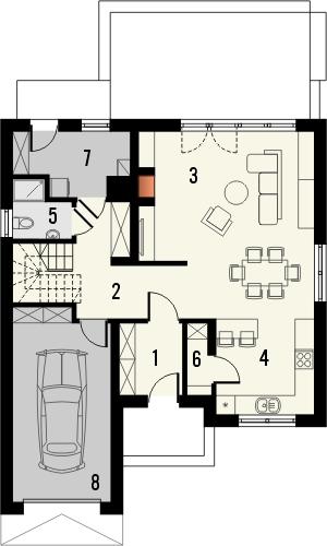 Projekt domu Tetris - rzut parteru