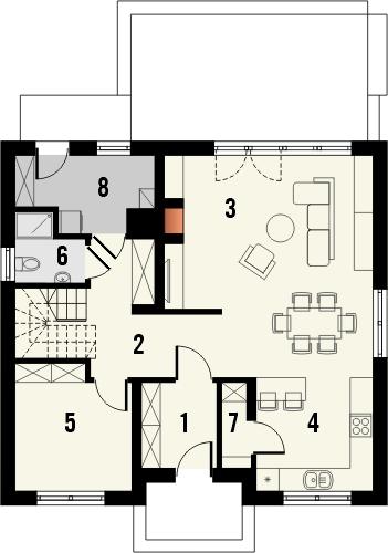 Projekt domu Tetris 2 - rzut parteru