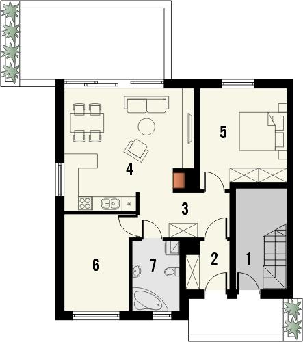 Projekt domu Riva 2 - rzut parteru