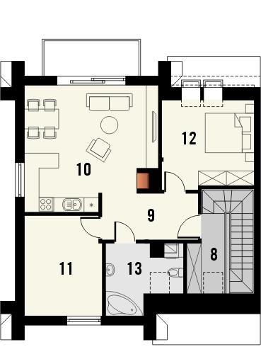 Projekt domu Riva 2 - rzut poddasza