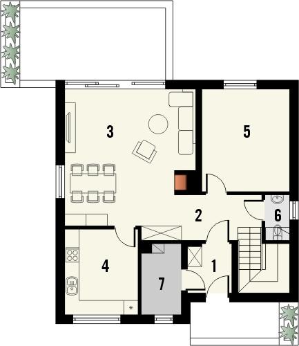Projekt domu Riwiera - rzut parteru