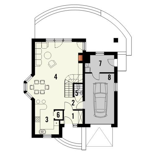Projekt domu Bella - rzut parteru
