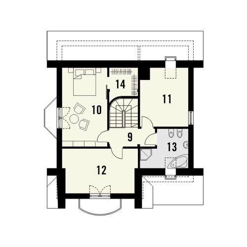 Projekt domu Bella - rzut poddasza