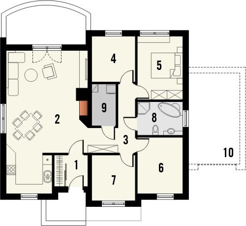 Projekt domu Figaro - rzut parteru
