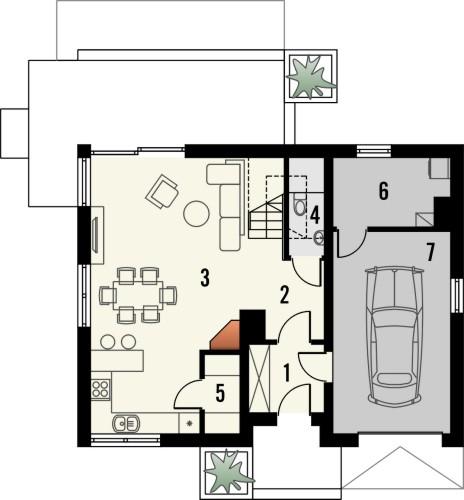 Projekt domu Esens - rzut parteru