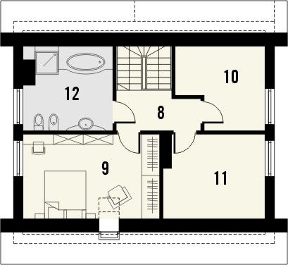 Projekt domu Iskra 2 - rzut poddasza