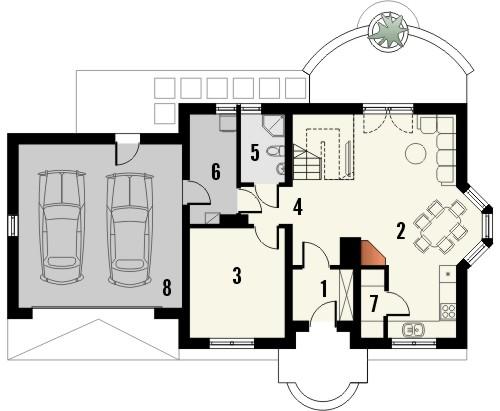 Projekt domu Aroma 2G - rzut parteru