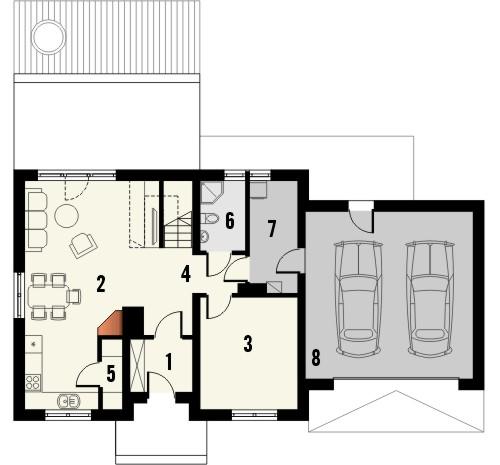 Projekt domu Elegant 2G - rzut parteru