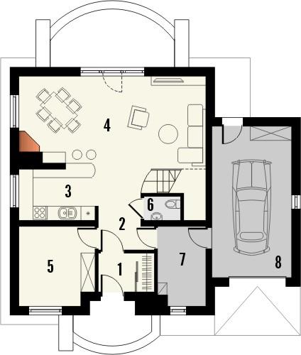 Projekt domu Esencja - rzut parteru