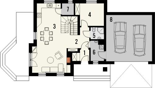 Projekt domu Orzech 2G - rzut parteru