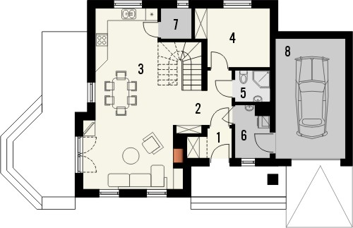 Projekt domu Orzech - rzut parteru
