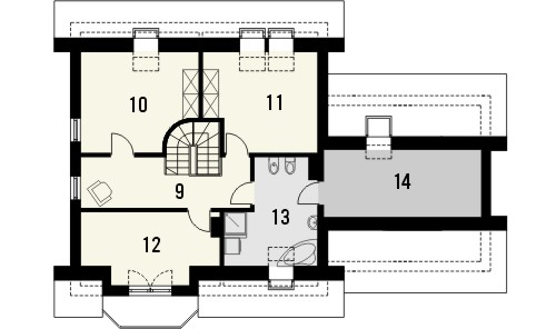 Projekt domu Piano 2G - rzut poddasza