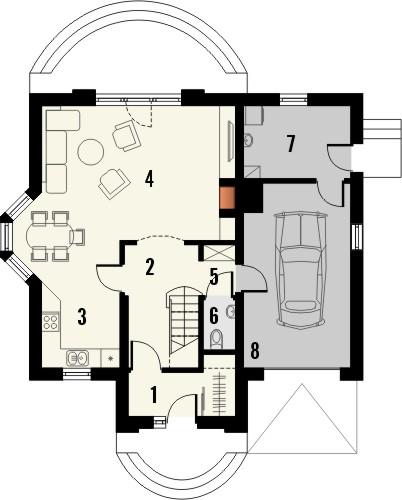 Projekt domu Roma - rzut parteru