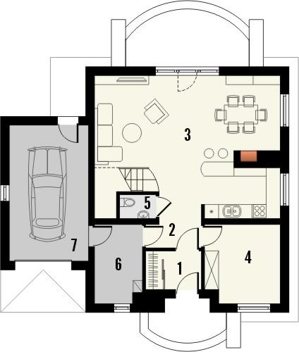 Projekt domu Sorbona - rzut parteru
