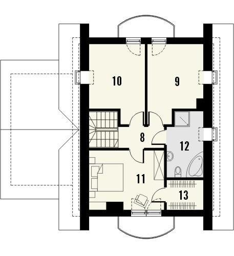 Projekt domu Sorbona - rzut poddasza