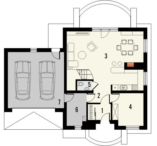 Projekt domu Sorbona 2G - rzut parteru