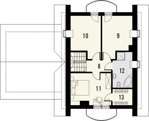 Projekt domu Sorbona 2G - rzut poddasza