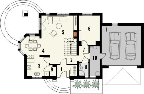 Projekt domu Szmaragd 2G - rzut parteru
