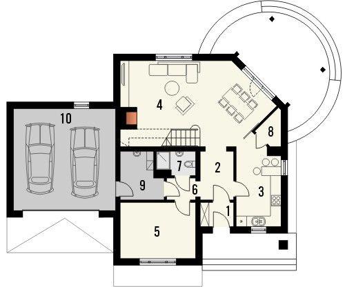 Projekt domu Wenecja 2G - rzut parteru