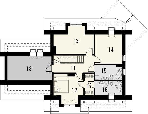 Projekt domu Wenecja 2G - rzut poddasza