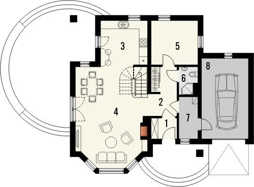 Projekt domu Piano - rzut parteru