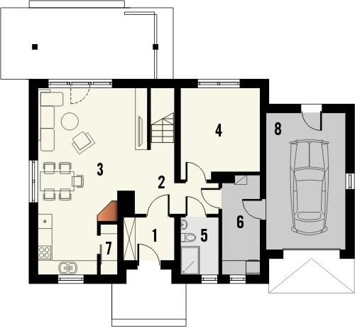 Projekt domu Madras - rzut parteru