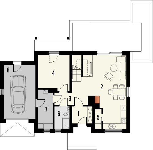 Projekt domu Gradient - rzut parteru