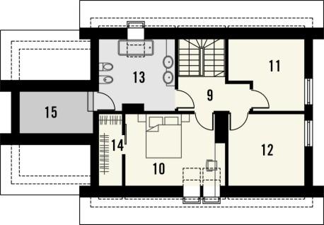 Projekt domu Gradient - rzut poddasza