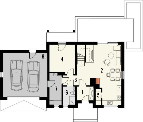 Projekt domu Gradient 2G - rzut parteru