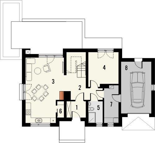 Projekt domu Ideal - rzut parteru