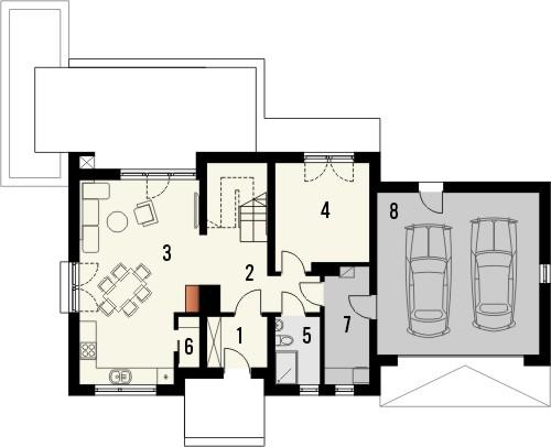 Projekt domu Ideal 2G - rzut parteru