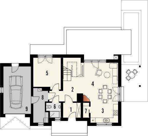 Projekt domu Umbria - rzut parteru