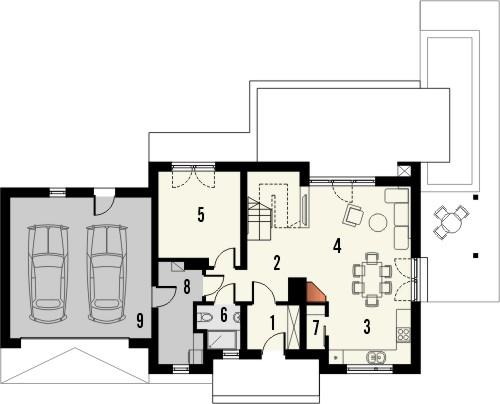 Projekt domu Umbria 2G - rzut parteru