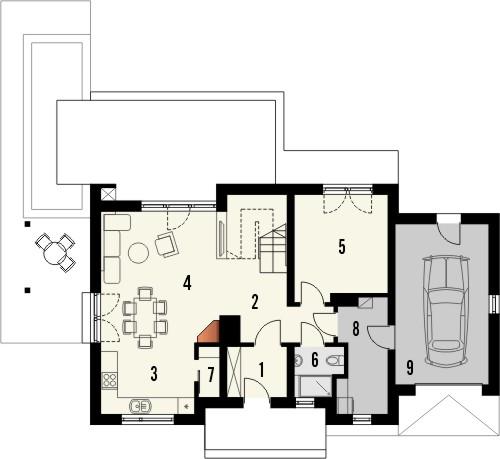 Projekt domu Umbria 2 - rzut parteru